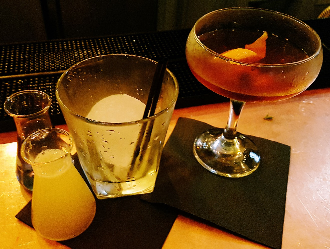 Colour Changing One and Chocolate Orange Sazerac cocktails at Alchemist Leeds Trinity
