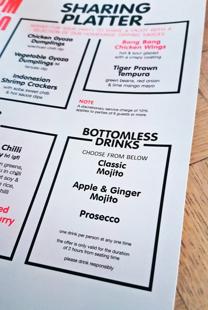 Menu at Bar Soba in Leeds - Bottomless Lunch Review by BeckyBecky Blogs