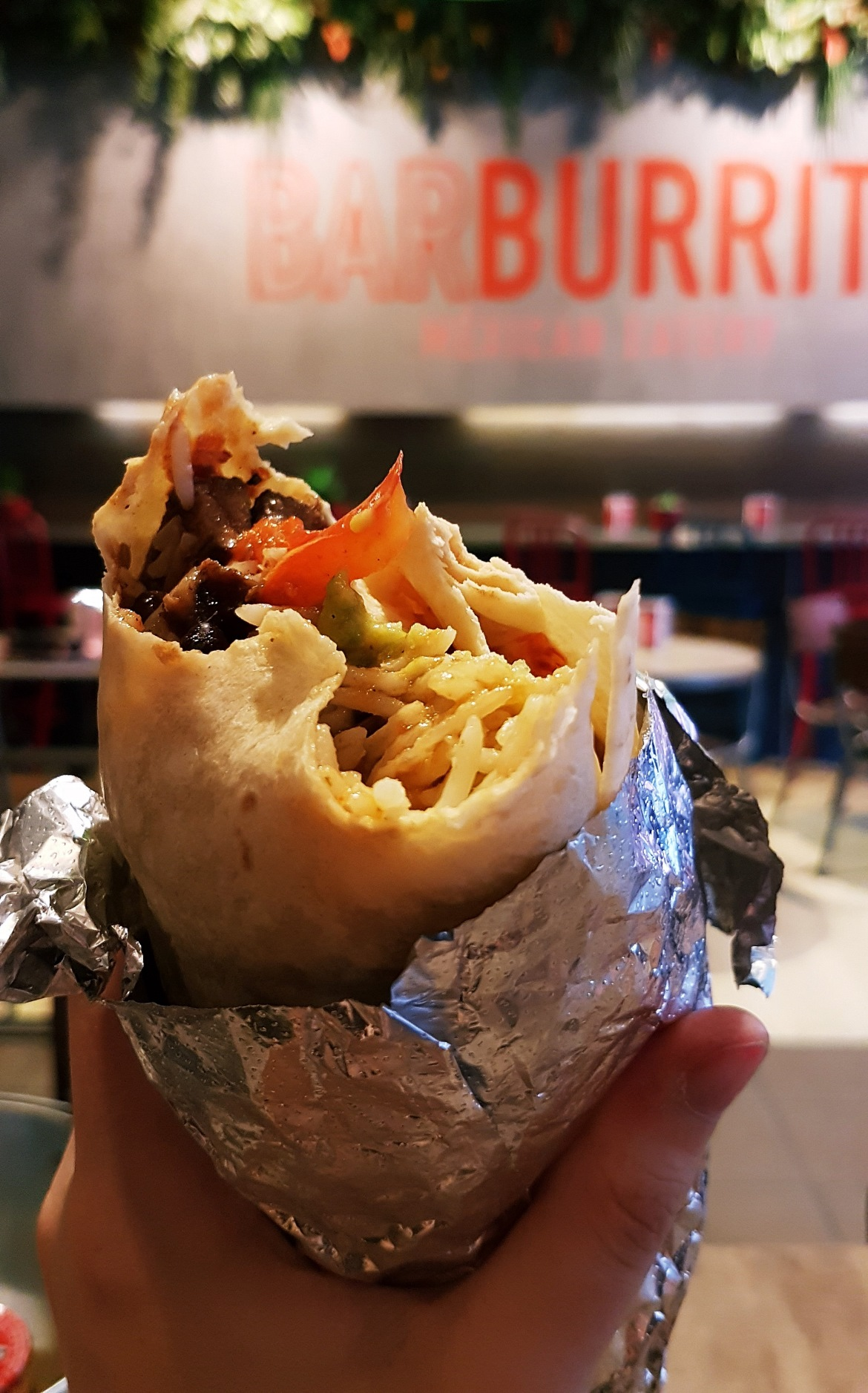 Half eaten burrito - Burrito Masterclass with Barburrito, review by BeckyBecky Blogs