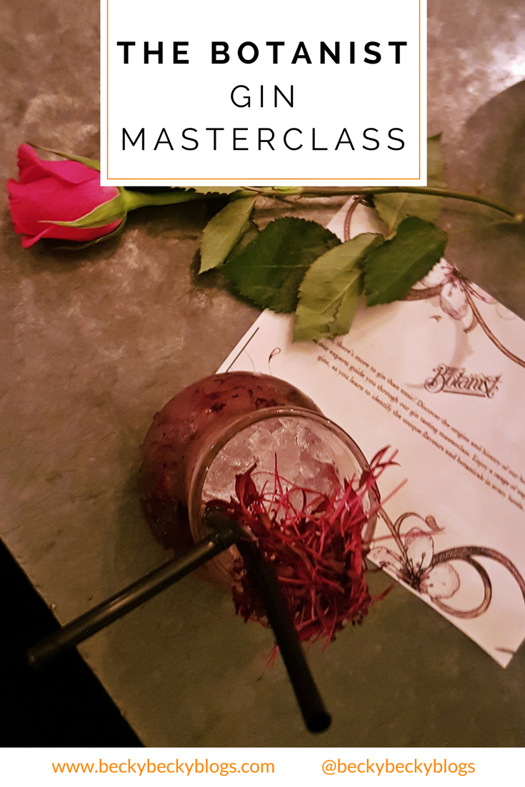 Gin Masterclass at the Botanist Leeds, review by BeckyBecky Blogs
