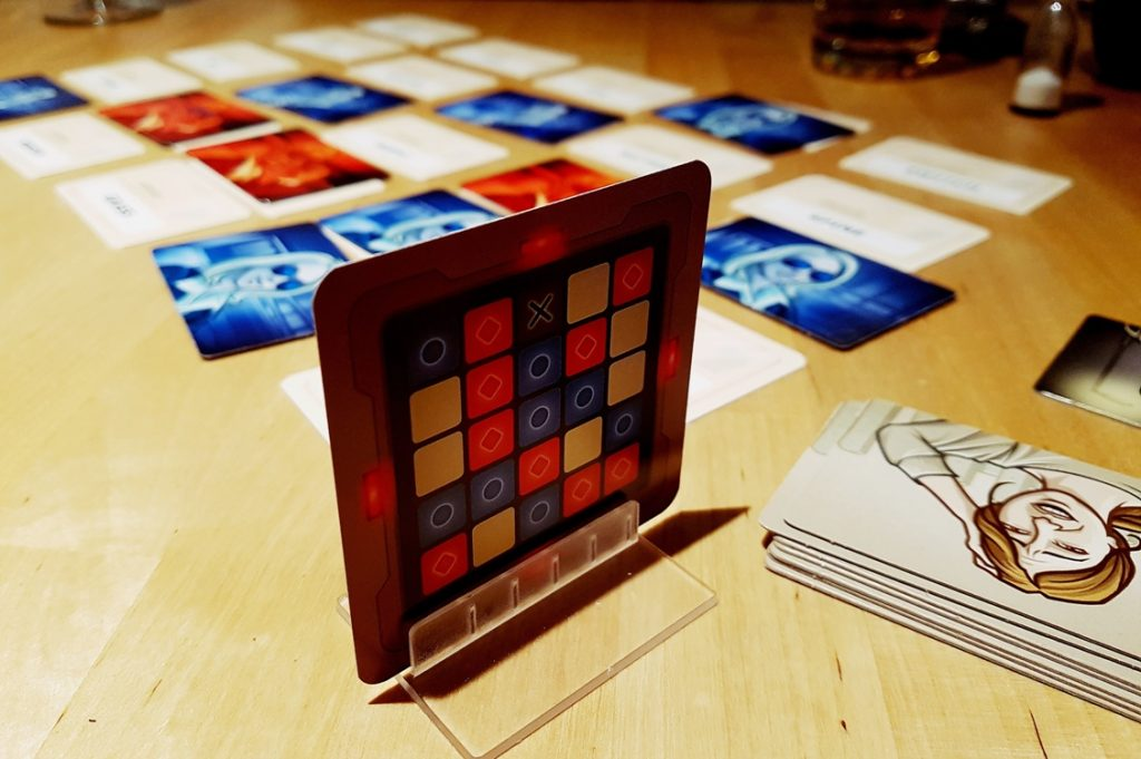 Codenames tabletop card game set up
