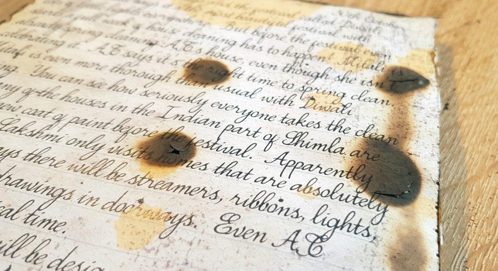 Journal burns for An Inheritance of Murder - CosyKiller murder mystery subscription box review by BeckyBecky Blogs