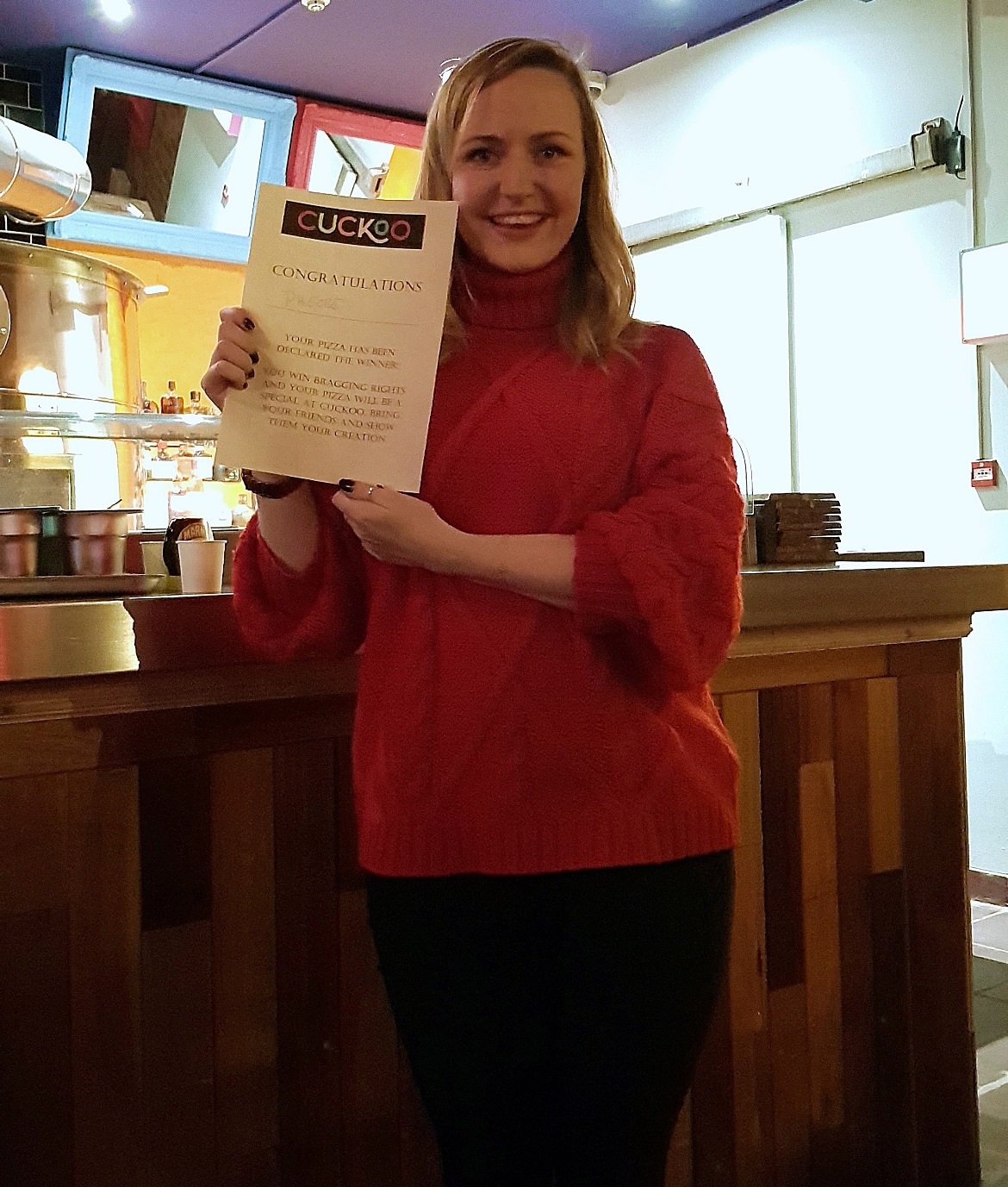 Phoebe from North of London, winner of Design a Pizza - Cuckoo, the newest cocktail and pizza bar on Call Lane in Leeds - Bar Review by BeckyBecky Blogs