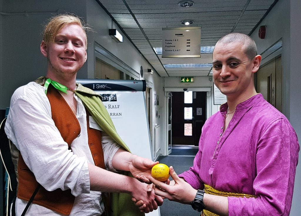 Mother Rhoyne player awarding a lemon to a bard - Everybody Dies Harder, a Game of Thrones megagame by BeckyBecky Blogs