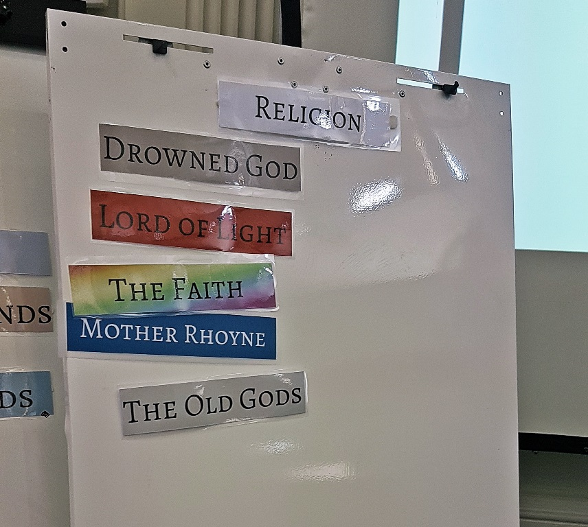 The Religion Value Track at the end of play - Everybody Dies Harder, a Game of Thrones megagame by BeckyBecky Blogs