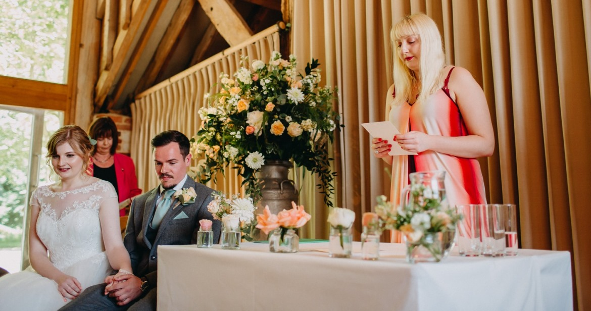Giving a reading at Katherine and John's Wedding - June 2018 Monthly Recap by BeckyBecky Blogs