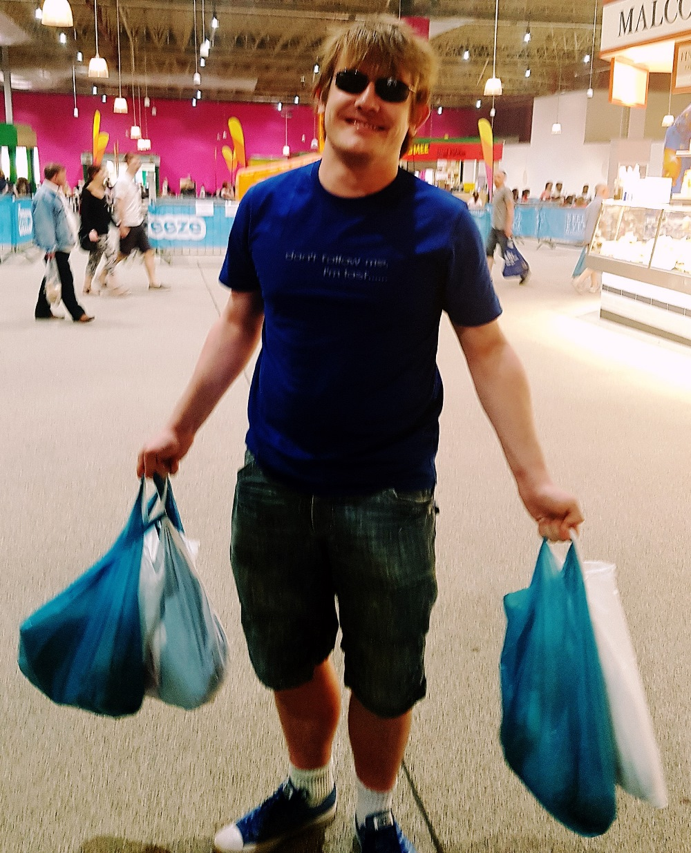 Loaded up with bags after a weekly shop at Kirkgate Market in Leeds