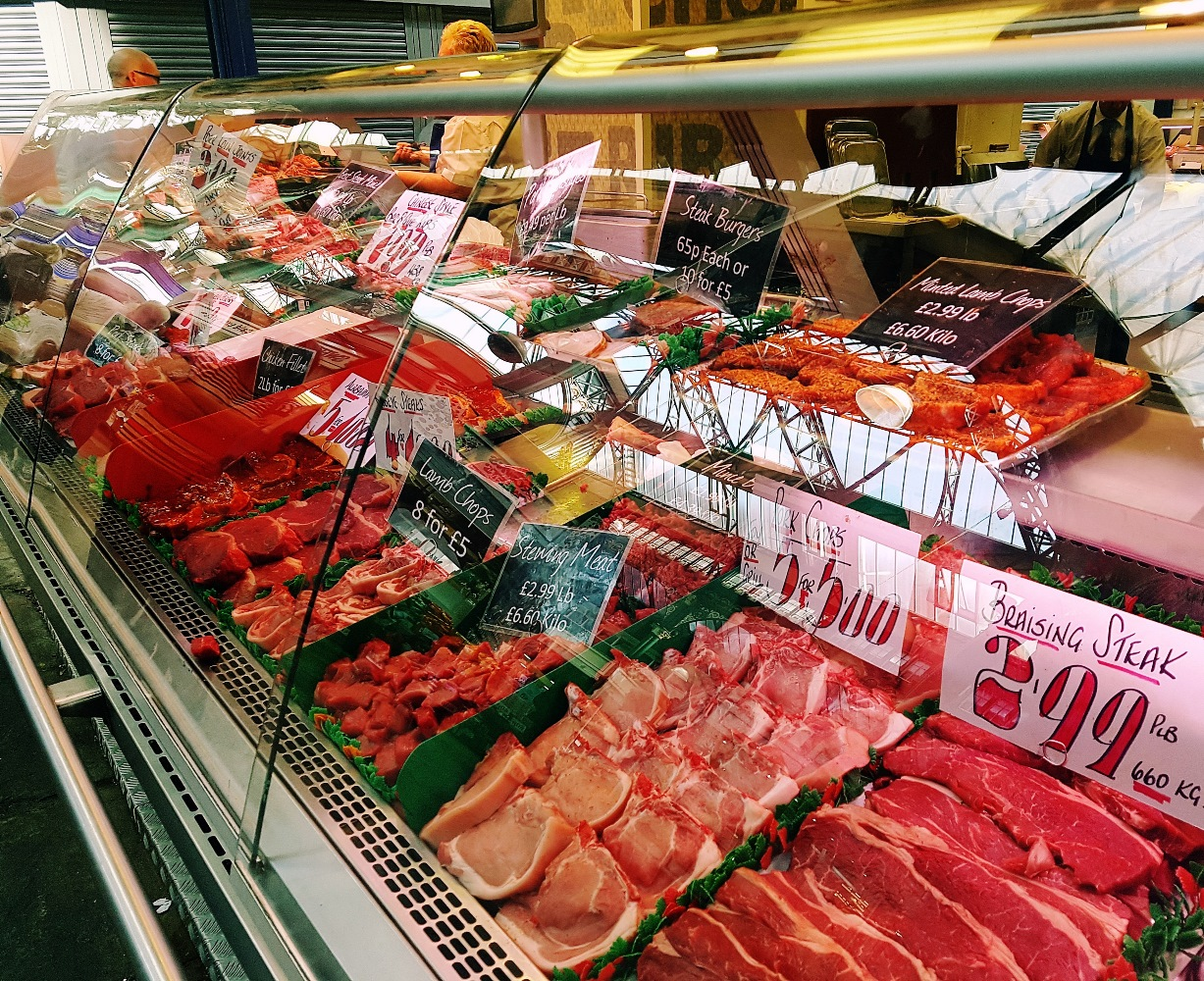 Meat on display on the Bennett's Butchers stand at Kirkgate Market in Leeds