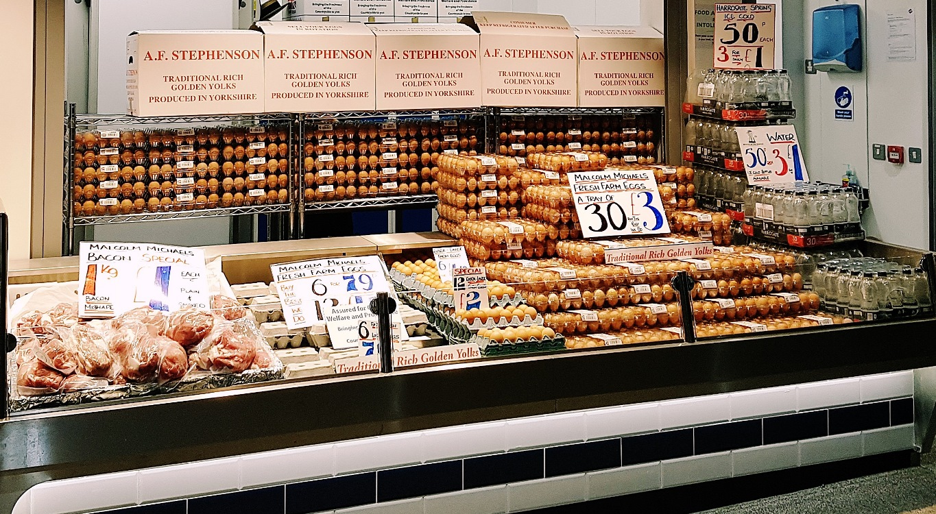 Fresh farm eggs from Malcolm Michael at Kirkgate Market in Leeds