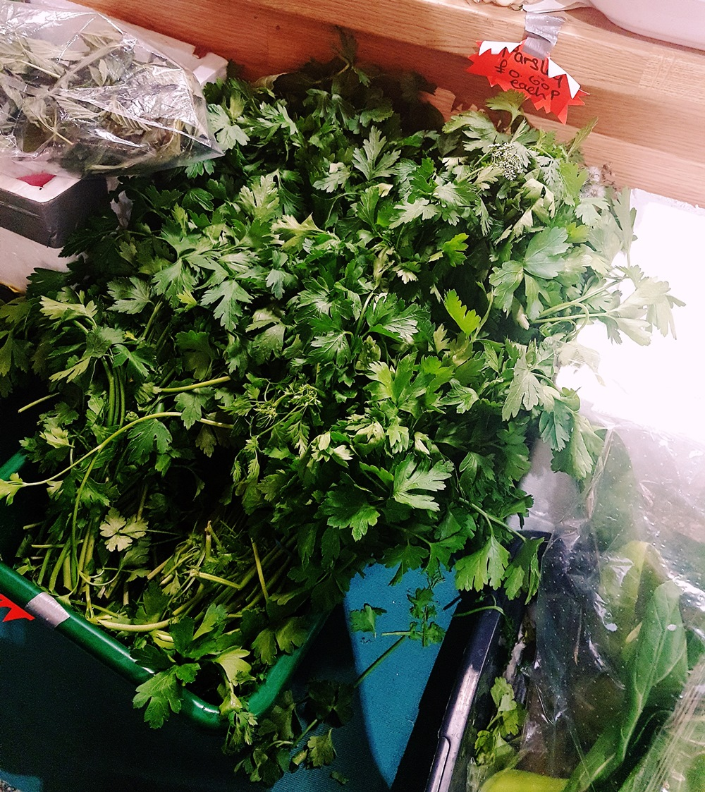 Parsley on sale at the Spice Corner at Kirkgate Market in Leeds