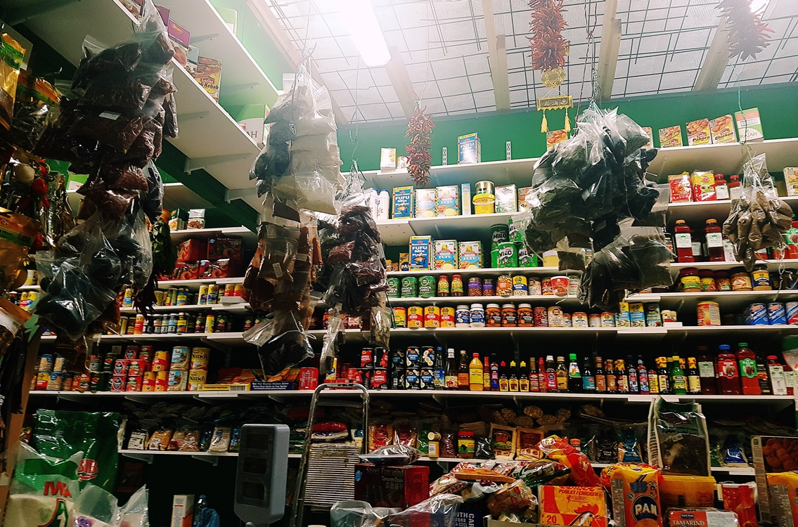 Spices hanging from the ceiling at the Spice Corner in Kirkgate Market in Leeds