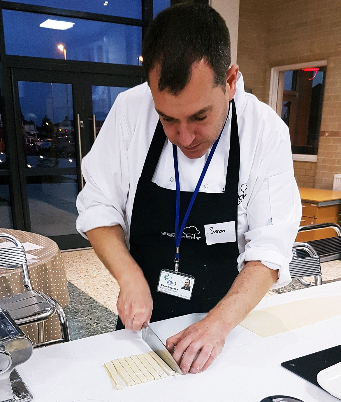 Cutting pasta dough into tagliatelle - Leeds Cookery School review by BeckyBecky Blogs