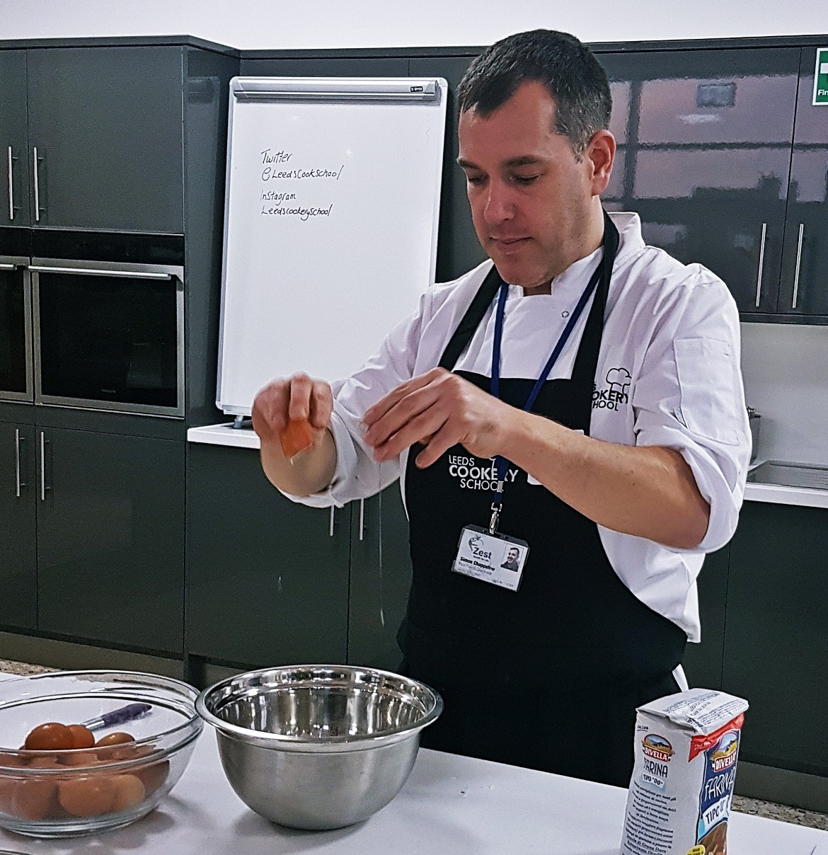 Cracking eggs to make pasta dough - Leeds Cookery School review by BeckyBecky Blogs