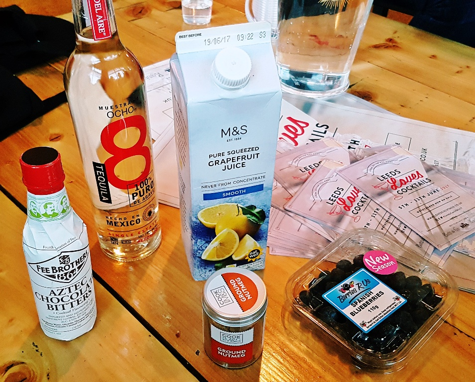 Our cocktail making ingredients - Leeds Loves Cocktails Press Launch with BeckyBecky Blogs