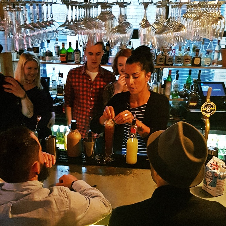 "The team making ""Berry Long Bath"" cocktail - Leeds Loves Cocktails Press Launch with BeckyBecky Blogs"