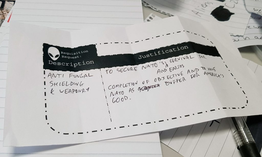 CIA Vault requisition form - Lights in the Sky Megagame Report by BeckyBecky Blogs