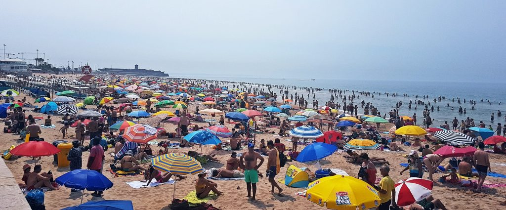 A very busy Carcavelos beach - Things to Do in Lisbon, Portgual, travel blog by BeckyBecky Blogs