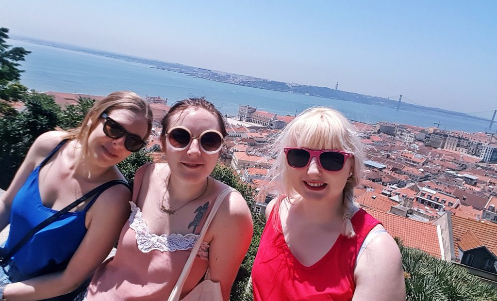 Me, Keeleigh and Sarah in front of a Lisbon Panorama from Castelo de Sao Jorge - Things to Do in Lisbon, Portgual, travel blog by BeckyBecky Blogs
