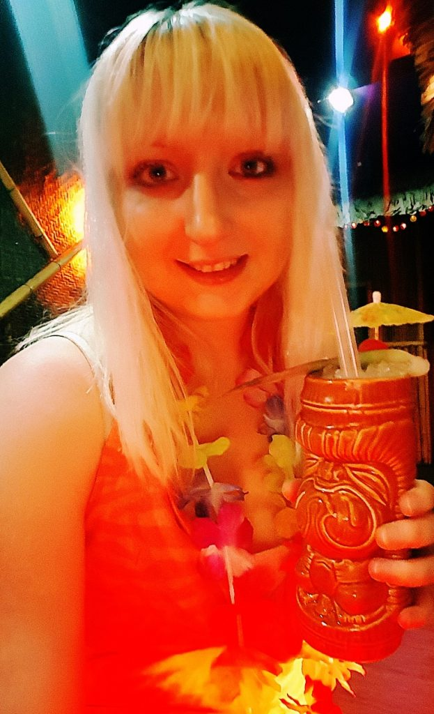 Selfie with Coco Cane and lei - Review by BeckyBecky Blogs of Mahiki Tiki Takecover at Tiki Hideaway with Leeds Loves Cocktails