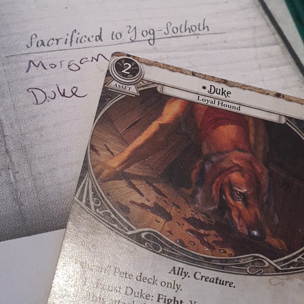 Duke's sacrifice in Return to the Dunwich Legacy campaign for the Arkham Horror Living Card Game - March 2020 Monthly Recap by BeckyBecky Blogs