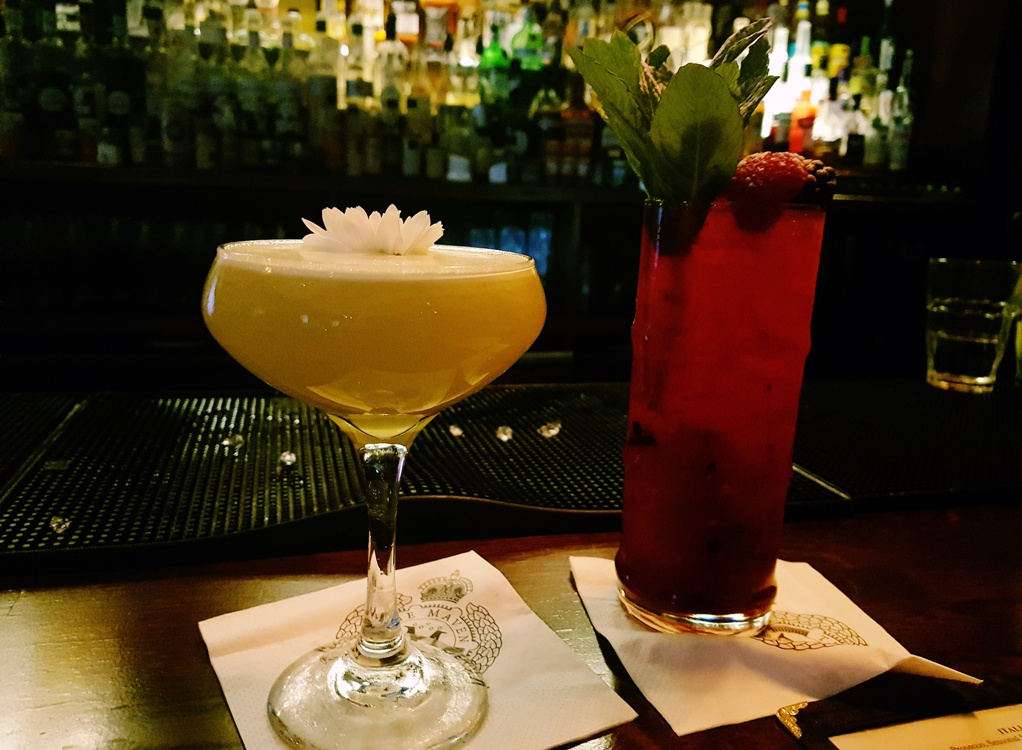 South Pacific and Berry Swizzle cocktails at Maven prohibition bar in Leeds