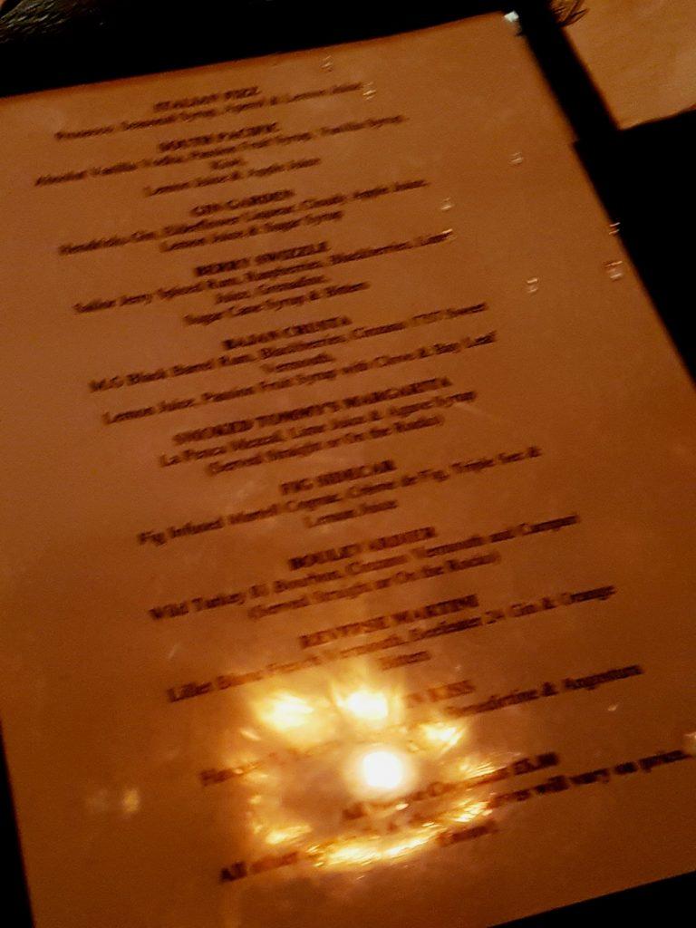 Cocktail menu at Maven prohibition bar in Leeds