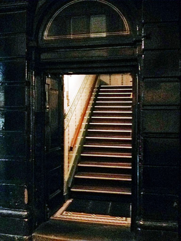 Entrance staircase to Maven prohibition bar in Leeds
