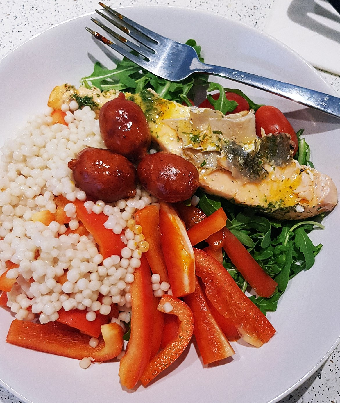 Salmon, chorizo and couscous - May 2018 Monthly Recap by BeckyBecky Blogs
