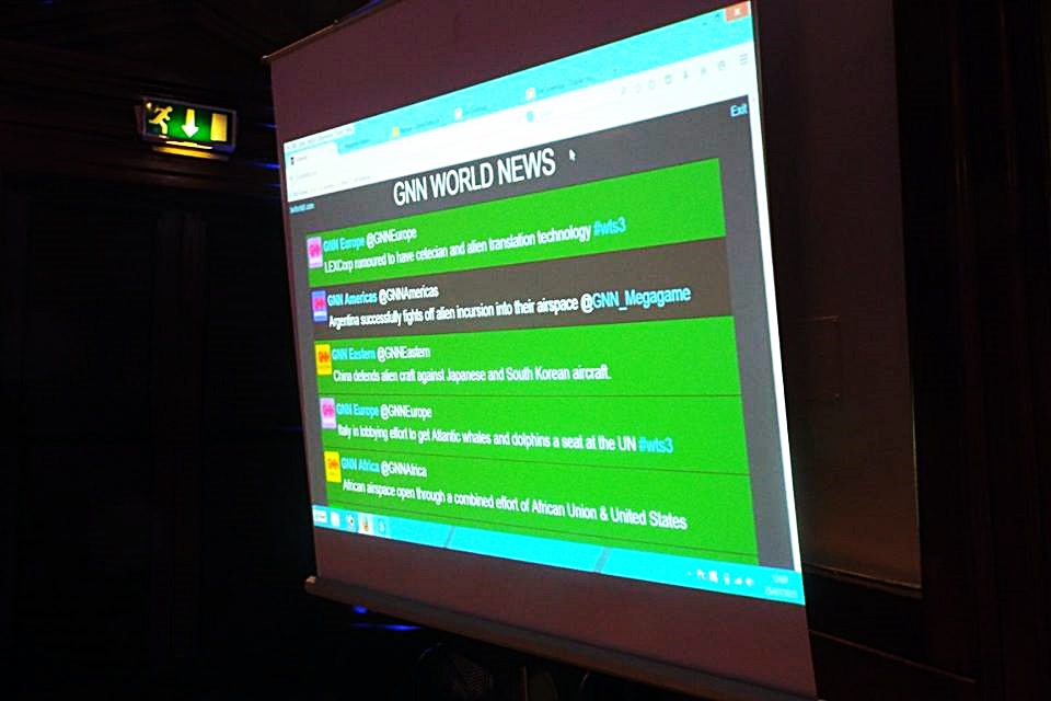 Twitter screen at a megagame - Press at Megagames by BeckyBecky Blogs|