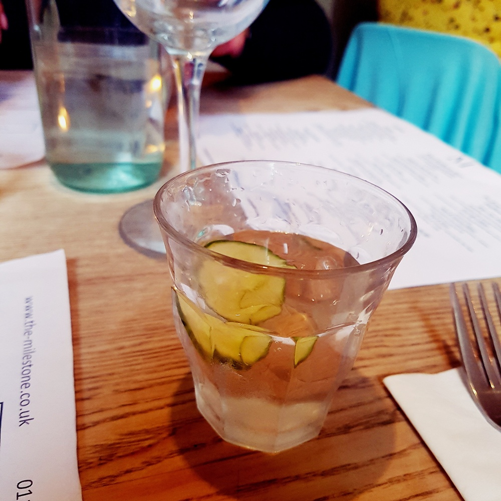 Cucumber water at the Milestone Sheffield