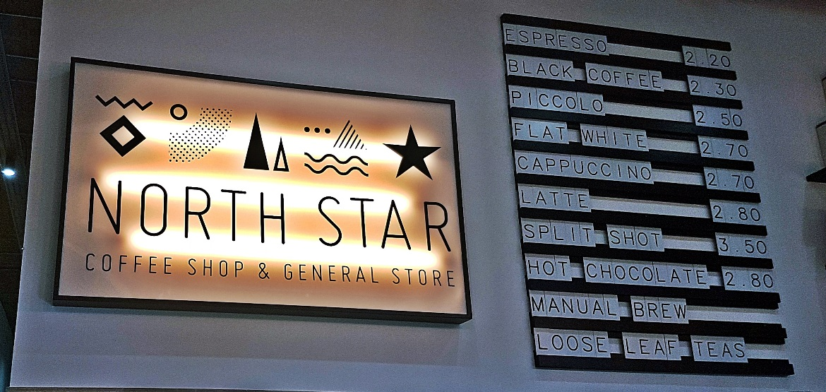 Sign and coffee prices - Review of North Star Coffee Shop by BeckyBecky Blogs