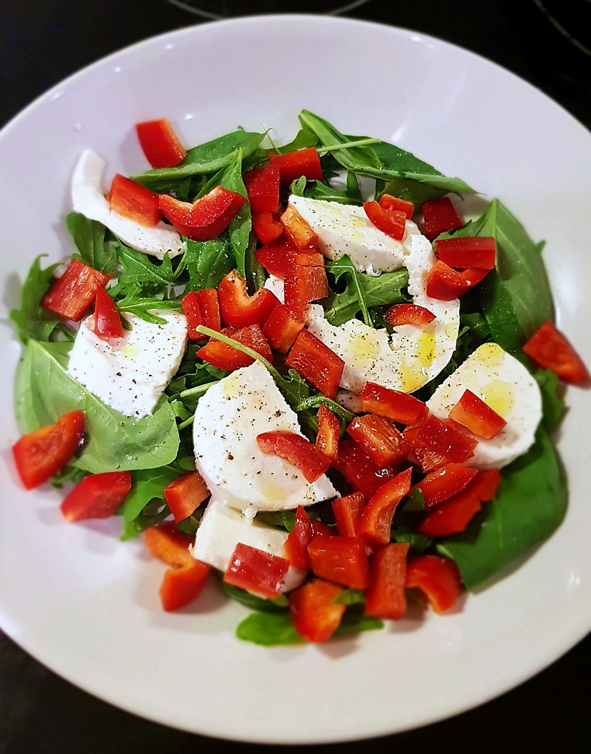 Caprese salad, without tomatoes, with peppers - November Monthly Recap by BeckyBecky Blogs