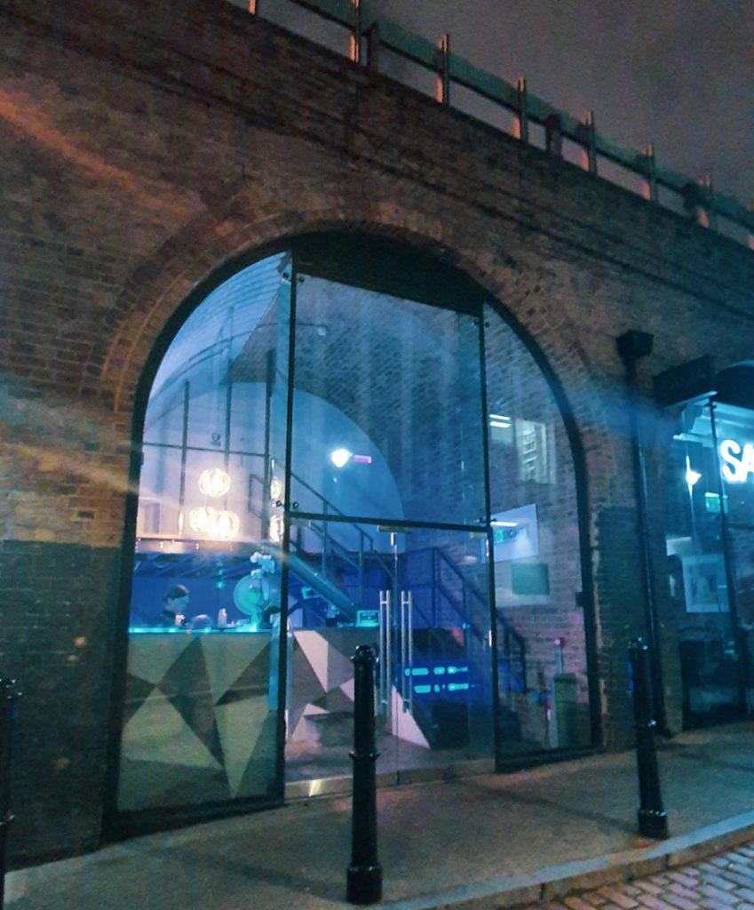 Exterior of Neosight - The Grid, Cocktail Escape Room in London, review by BeckyBecky Blogs
