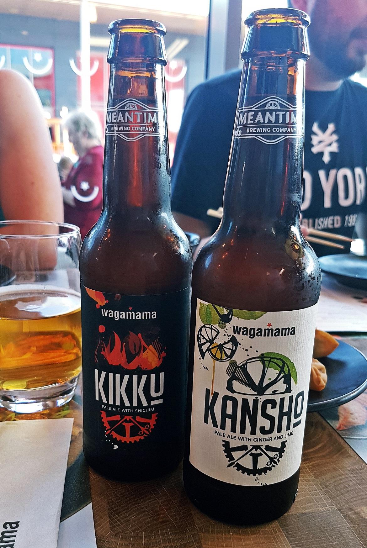 Kikku and Kansho beers - Wagamama Menu Pairing, Review by BeckyBecky Blogs