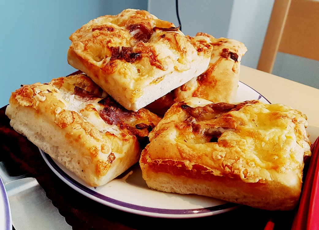 Gruyere and onion focaccia at our House Wimbledoning